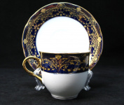 Premium Bone China Porcelain 12-pc. Tea Cup Coffee Set, Vintage Cobalt Blue Ornament, 24K Gold-Plated Accents, 6 Cups and Saucers