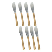 RoyaltyRoute Copper Handle Stainless Steel Flatware 8 Pcs Dinner Knife Set Cutlery 19cm