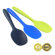 Always Your Chef 3 Pack 27cm Premium Silicone Spoons for Cooking,Kitchen,Baby,Mixing Salad and More,Random Colours