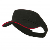 Brushed Cotton Twill Sandwich Visor - Black Red
