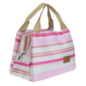 Koly Stripe Thermal Insulated Lunch Box Tote Cooler Zipper Bag Bento Lunch Pouch