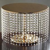 Gold Crystal Pendants Metal Chandelier Wedding Cake Stand - 30cm Tall
