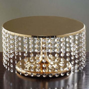 Gold Breathtaking Crystal Pendants Metal Chandelier Wedding Cake Stand - 19cm Tall