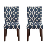 Modern Morrocan Print Fabric Upholstered Accent Parsons Dining Chairs (Set of 2) with Solid Wood Frame and Legs - Includes Modhaus Living Pen