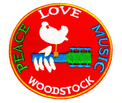 "Woodstock - ""Peace, Love, Music"" 7.6cm Sew / Iron on Embroidered Patch"
