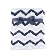 Hudson Baby Super Plush Blanket, Blue Chevron, 80cm x 100cm