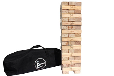 Giant Wooden Tumbling Timbers by Browns Bank | Mega-Sized Pine Blocks Stacking Game for Indoor Outdoor Use | Fun for Kids & Adults | Heavy Duty Duffle Bag Included | Don't Topple or Tumble the Tower