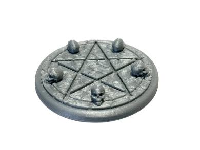Pentagram Summoning Skull 45mm 3D Printed Miniature Display Base