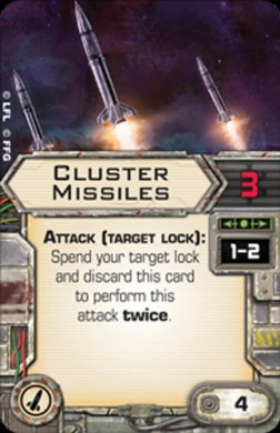Star Wars X-Wing Miniatures Game Cluster Missiles Upgrade Card