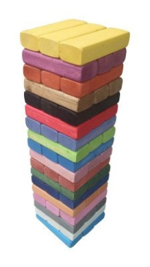 Giant Tumbling Towers Game RAINBOW Blocks up to 4+FT to +1.5m & Includes Wooden Case