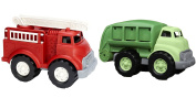 Green Toys Fire Truck & Recycling Truck Vehicle Playsets Toy fot Kids