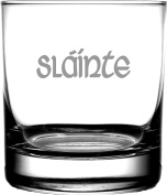 "Celtic Toast ""Slainte"" 370ml Etched Scotch Old Fashion Whiskey Glass"