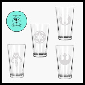 Star wars inspired Etched Pint Glass Set of FOUR. Rebel Alliance, Mandalorian, Jedi Order and Galactic Empire.