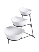 Gracious Dining Three-Tier Oval Serving Bowl Set, White And Black