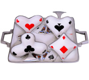 Purpledip Colourful Playing Cards Serving Tray with 4 bowls Set, Unique Table décor