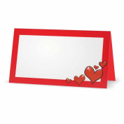 Red Hearts on Red Place Cards - TENT STYLE - 10 PACK - White Blank Front with Solid Colour Border - Placement Table Name Seating Stationery Party Supplies - Occasion or Dinner Event