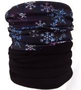 Fleece neck warmer, ski snood, ski neck warmer - snow flake pattern with black fleece
