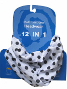 Multifunctional Headwear Polka, Black Dots on White Background