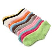 5 Pairs Women Candy Colour Winter Warm Coral Fleece Fluffy Socks Thicken Thermal Ankle Socks Casual Crew Socks Colour Random