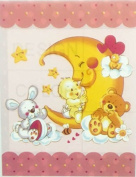 KOREAN SOLARON BABY BLANKET MOON AND BABY DESIGN PINK colour