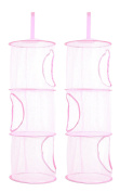 TIRSU Mesh Hanging Storage Organiser toy storage space saver bags 3 Compartments for kid room pink 2pieces lz0001-pink