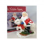 St Nicholas Square Santa On Polar Bear Figurine 15cm