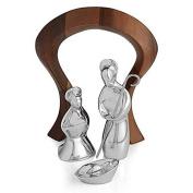 Nambe Alloy and Acacia Wood 4 Piece Miniature Nativity Scene