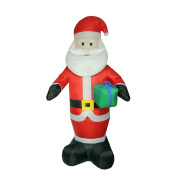 2.4m Inflatable Lighted Santa Claus with Gift Christmas Yard Art Decoration
