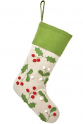 Martha Stewart Living Holly and Berries Christmas Stocking, Green Trim