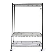 Ruhiku Heavy Duty Wire Shelving Garment Rack Rolling Storage Closet Shelf Organiser with Hanger Bar Wheels and Top and Bottom Shelves Rolling Clothes Rack, Black