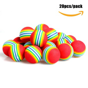 Delight eShop Practise Golf Balls, 20pcs, Foam, Rainbow Colour, for indoor/outdoor Golf Practise