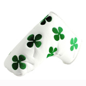 RICE Golf Green Clover Black Inside White Putter Cover Headcover For Scotty Cameron Ping blade