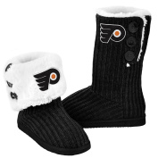 NHL Hockey Ladies Knit High End Button Boot Slippers - Black