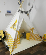 Sunny@new design yellow stripe kids play tent indian teepee children playhouse children play room teepee