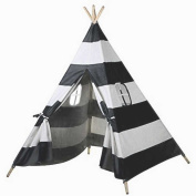 MakBB Indoor White Teepee Tent Play Playhouse Tents Canvas for Kids with Carry Case - Black Stripes