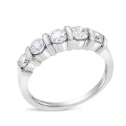 0.97 CT Natural Round Diamond Bar Set Anniversary Band in Solid 14k White Gold