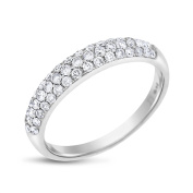 0.75 CT Natural Diamond Micro Pave Wedding Anniversary Band In Solid 14k White Gold