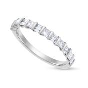 0.61 CT Alternating Princess & Baguette Diamond Wedding Band Solid 18k White Gold