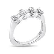 0.40 CT Natural Diamond Rounds/Baguette Euro Shank Wedding Band in Solid 14k White Gold