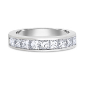 1.80 CT Natural Diamond Princess Cut Channel Set Wedding Band in Solid 14k White Gold
