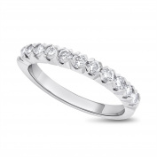 0.90 CT Natural Diamond Round Eleven Stone Wedding Band Solid 14k White Gold