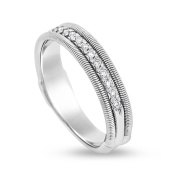 0.25 CT Natural Diamond Spring Wired Design Wedding Band Solid 18k White Gold