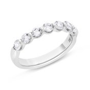 0.74 CT Natural Diamond Round Single Shared Prong Wedding Band Solid 18k White Gold