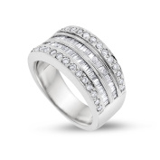1.05 CT Natural Round & Baguette Diamond Wide Band In Solid 14k White Gold