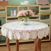 yazi Handmade Tablecloths Round Rustic Crochet Floral Table Runners Table Cover 130cm White Colour Tablecloth