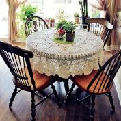 yazi Handmade Crochet Tablecloths Cotton Round Placemat Table Covering Doilies for Furniture Décor Beige Colour 130cm
