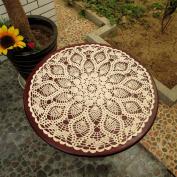 yazi Tablecloths Crochet Square Table Cover Lace Table Covering Doilies for Furniture Décor Beige Colour 60cm