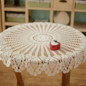 yazi Rustic Crochet Tablecloth White Cotton Table Cloth Rectangular Handmade Crochet Lace Table Cover Beige Colour 90cm