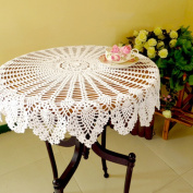 yazi 100%Cotton Crochet Lace Round Table Runner Cloth Knitting Tablecloth White Colour 90cm