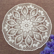 yazi Hand Crochet Table Runner Doilies Rustic Crochet Floral Table Runners Table Cover 60cm White Colour Tablecloth